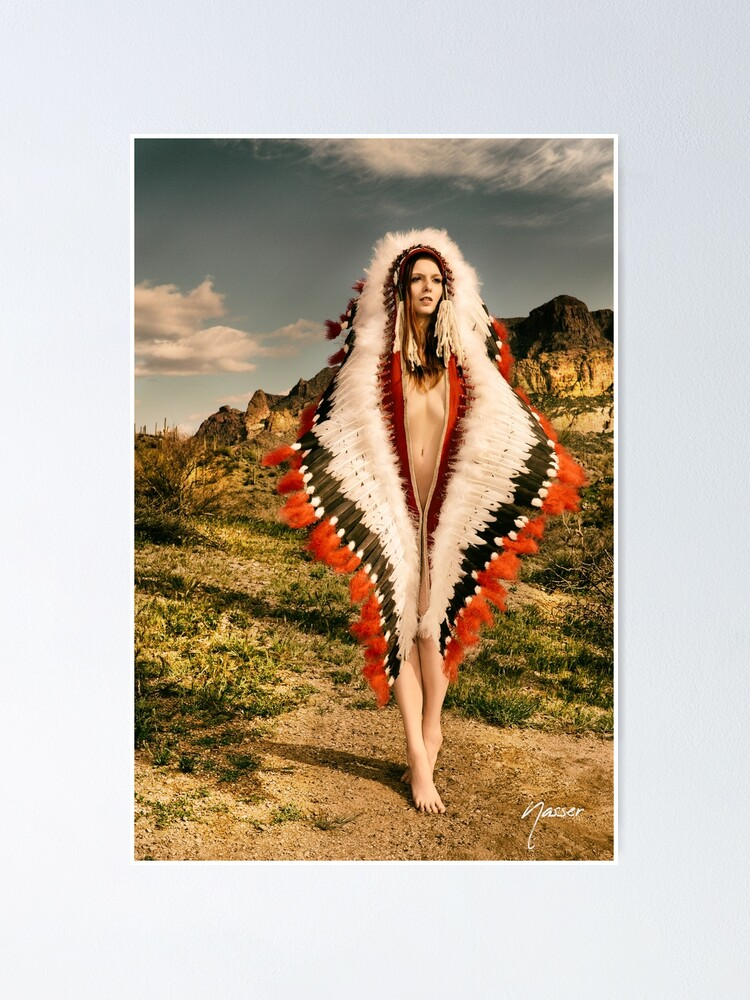 Alternate view of Adorned Feathered Nude 2714 - SurXposed - Classy Girl in Indian Headdress Costume Poster