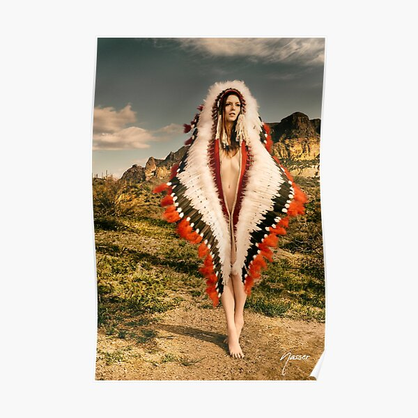 Adorned Feathered Nude 2714 - SurXposed - Classy Girl in Indian Headdress Costume Poster