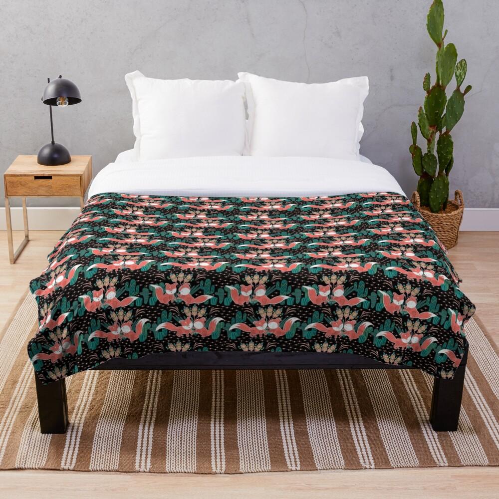 Foxy Boho Succulents Throw Blanket