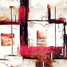 Abstract Square Lines Oil Painting by Fred Seghetti