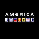 America Nautical Maritime Sailing Flags Dark Color by TinyStarAmerica