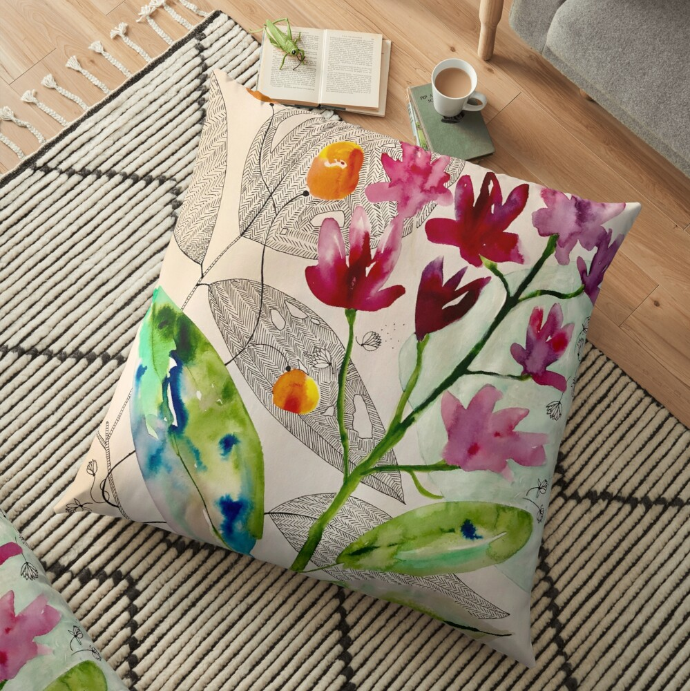 botanical composition Floor Pillow