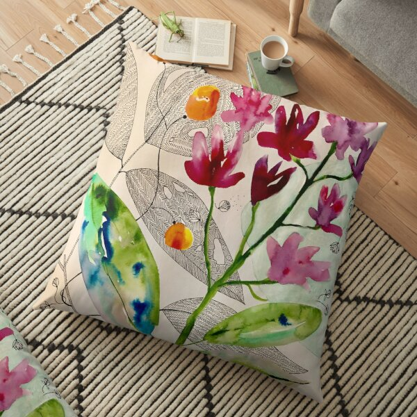 botanical composition Floor Pillow