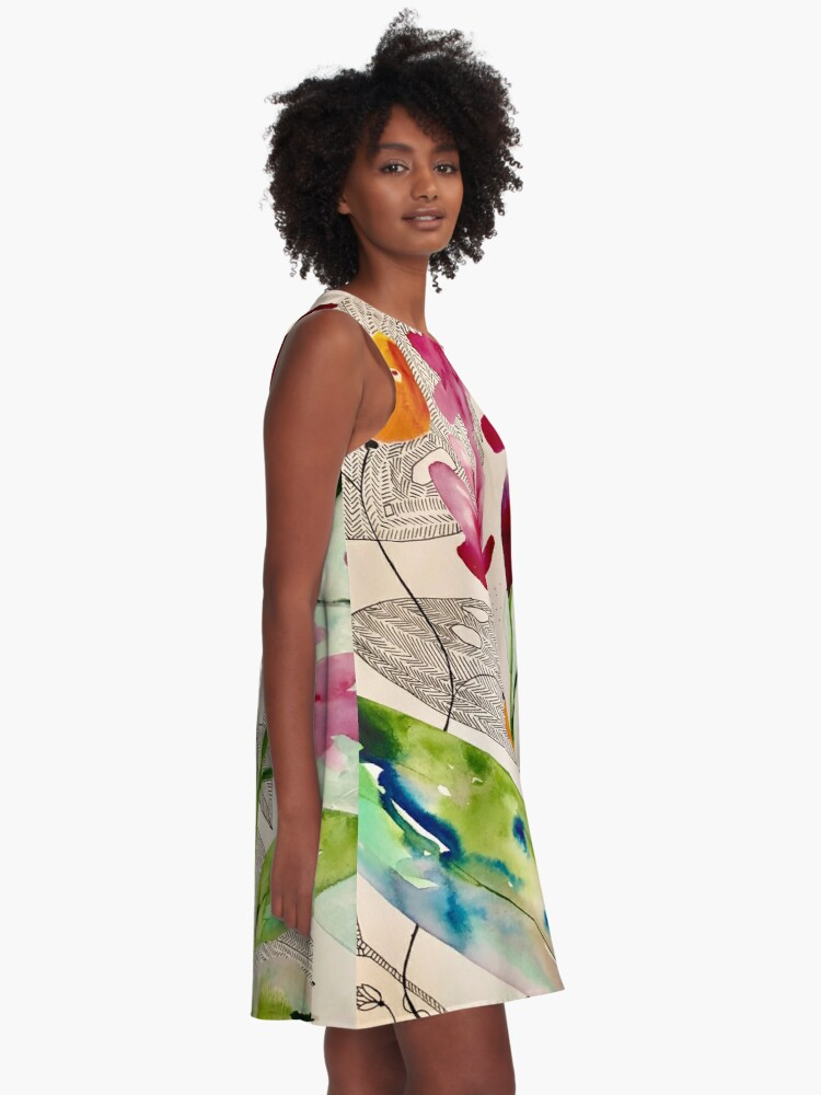 Alternate view of botanical composition A-Line Dress