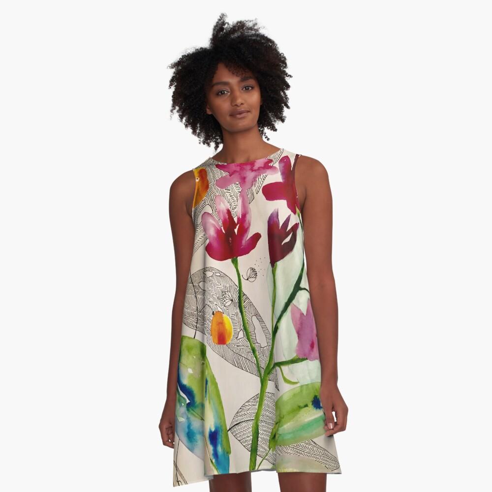 botanical composition A-Line Dress