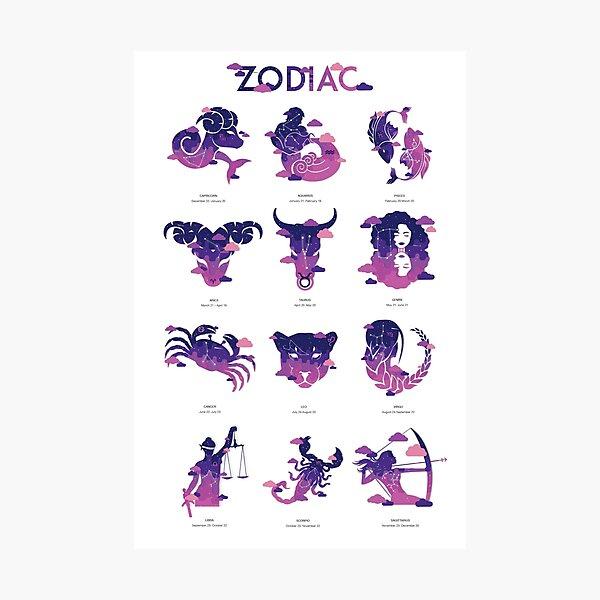 Zodiac Poster set  Photographic Print