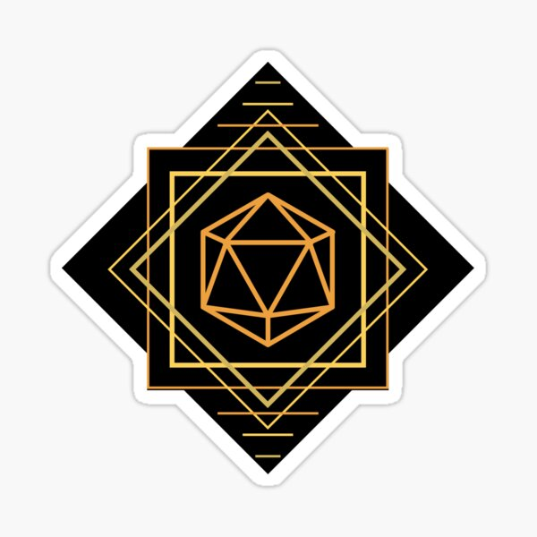 Art Deco d20 dice Sticker