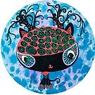 Black Cat with  Buff  Coolnet Big head cat round circle painting  by See Foon