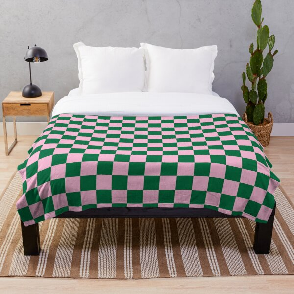 Cotton Candy Pink and Cadmium Green Checkerboard Throw Blanket