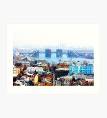 Kiev bussines and industry city landscape on river, bringe, and buildings Art Print