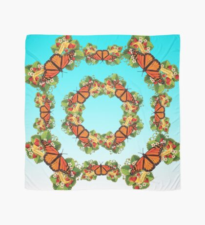 Monarch Butterfly with Strawberries Scarf