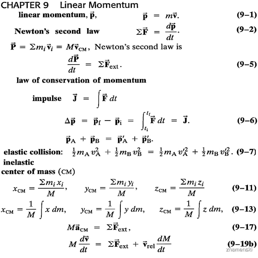 Chapter 9 Linear #Momentum, #Newton's Second #Law,  Conservation of #Impulse by znamenski