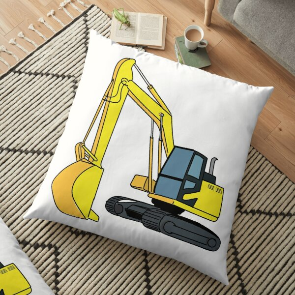 Excavator Construction Vehicle Illustration Floor Pillow