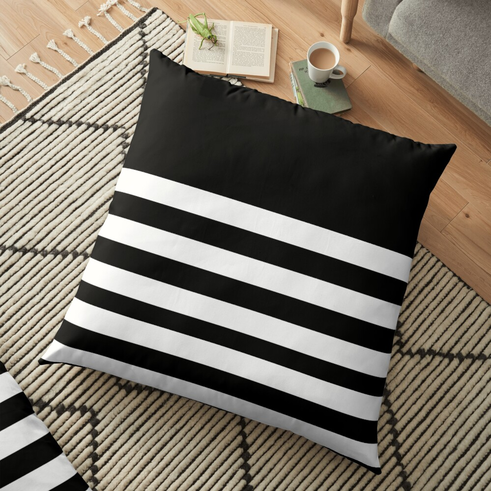 Black And White Striped Floor Pillow By Anteia Redbubble
