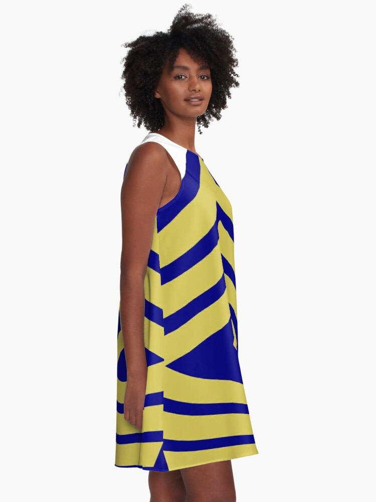 Alternate view of Yellow, high-visibility clothing, patriotism, symbol, design, illustration, rows, striped A-Line Dress
