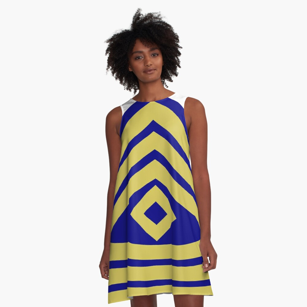 Yellow, high-visibility clothing, patriotism, symbol, design, illustration, rows, striped A-Line Dress