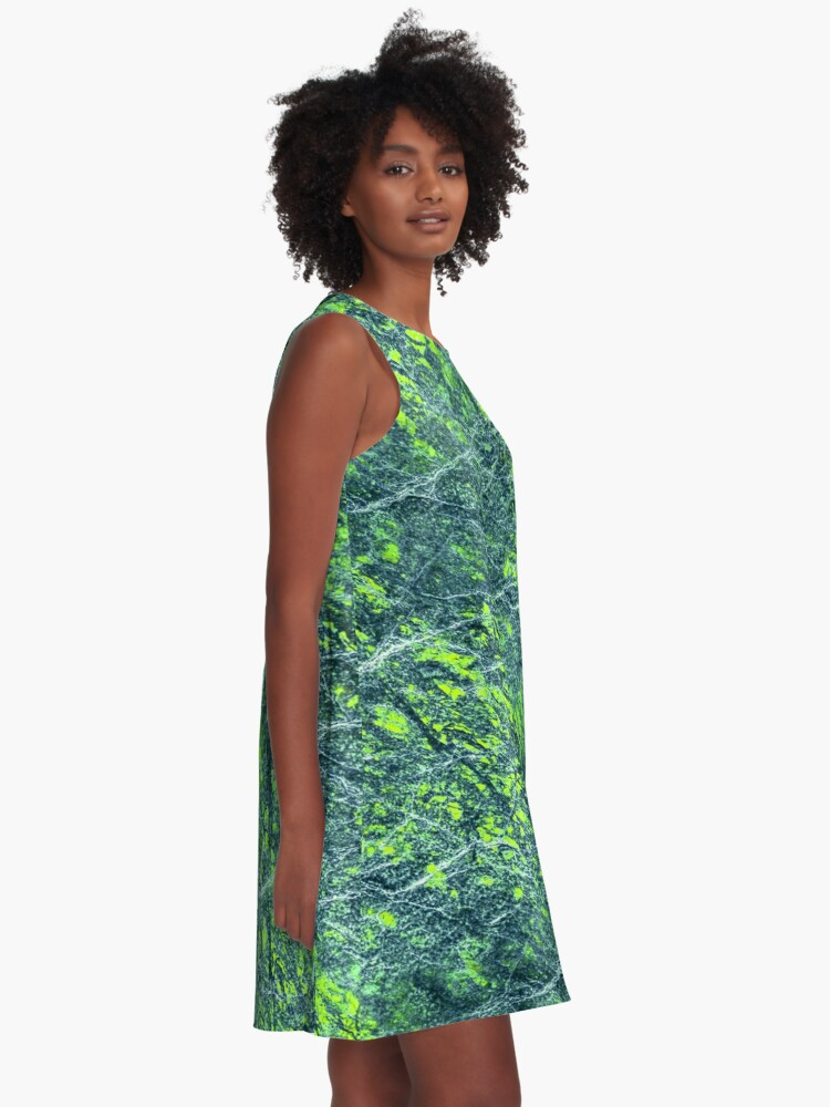 Alternate view of Emerald green marble color fancy A-Line Dress