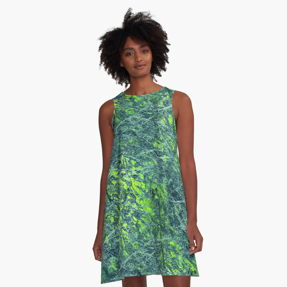 Emerald green marble color fancy A-Line Dress