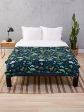 Dinosaur Land - cute Dino pattern by Cecca Designs Throw Blanket