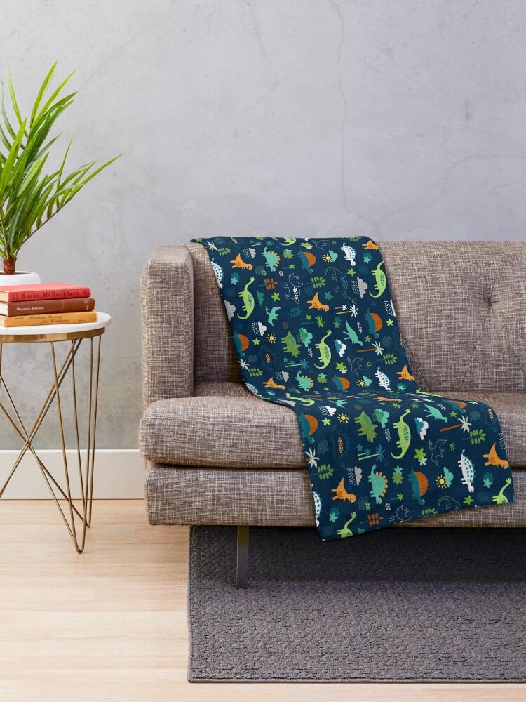 Alternate view of Dinosaur Land - cute Dino pattern by Cecca Designs Throw Blanket