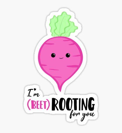 (beet)ROOTING For you! Exam Card - GCSE Card - College - University Good Luck - Beetroot - Vegan - Vegetarian - Motivational Glossy Sticker
