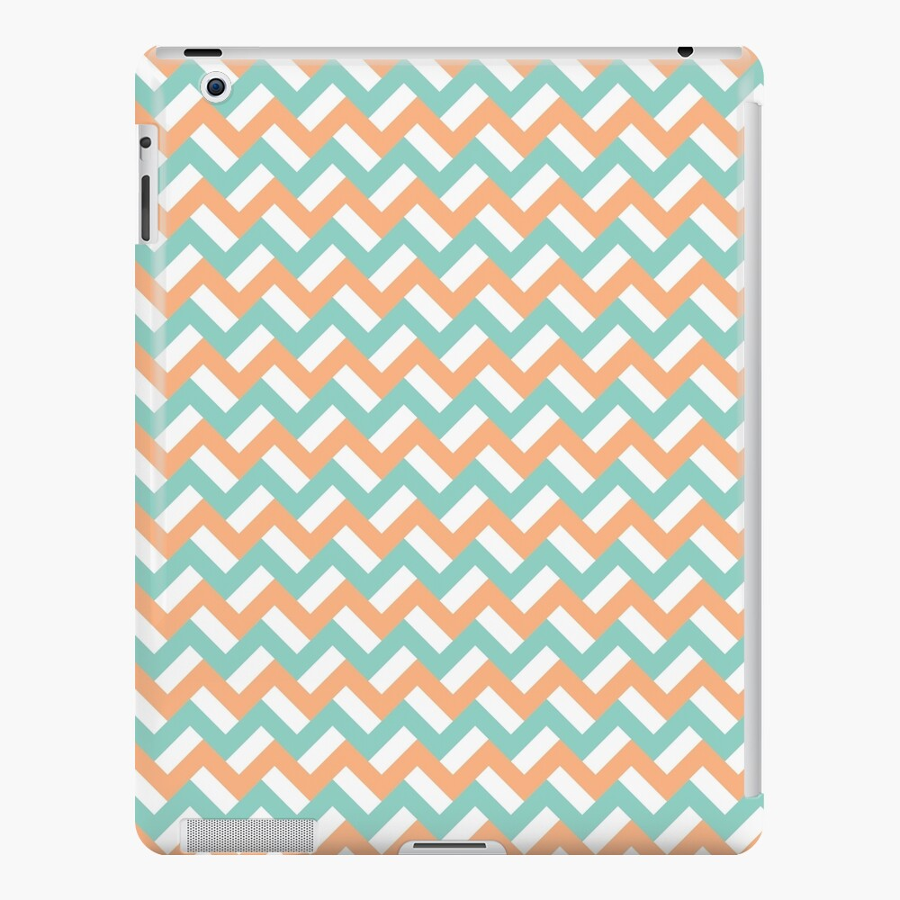 Teal and peach zigzags iPad Case & Skin