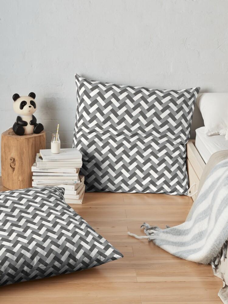Alternate view of Grey weaving pattern Floor Pillow