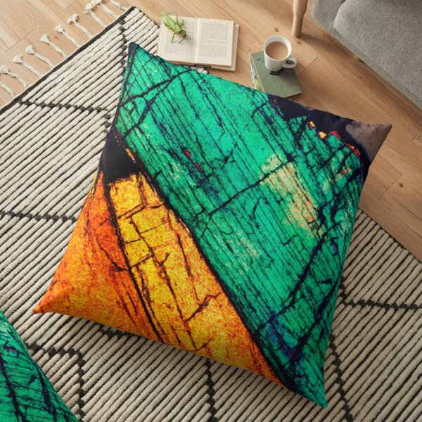 Epidote in Quartz Groundmass Mineral Art Floor Pillow