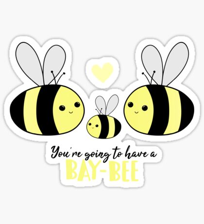 Baby Shower - New Baby - BAY-Bees - You're going to have a baby! Sticker