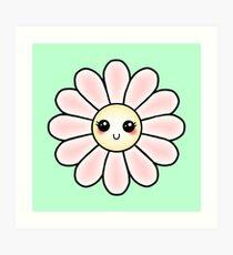 Kawaii Daisy | Pink Blossom Flower Art Print
