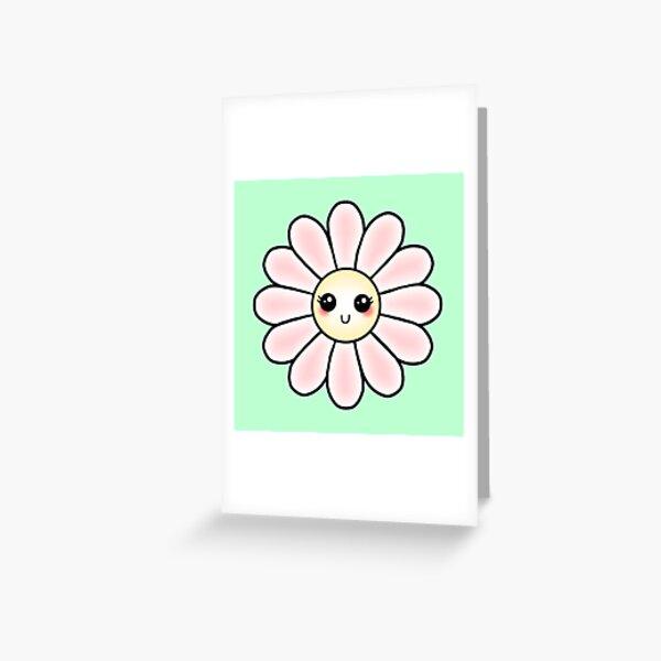 Kawaii Daisy | Pink Blossom Flower Greeting Card