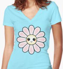 Kawaii Daisy   Pink Blossom Flower Fitted V-Neck T-Shirt
