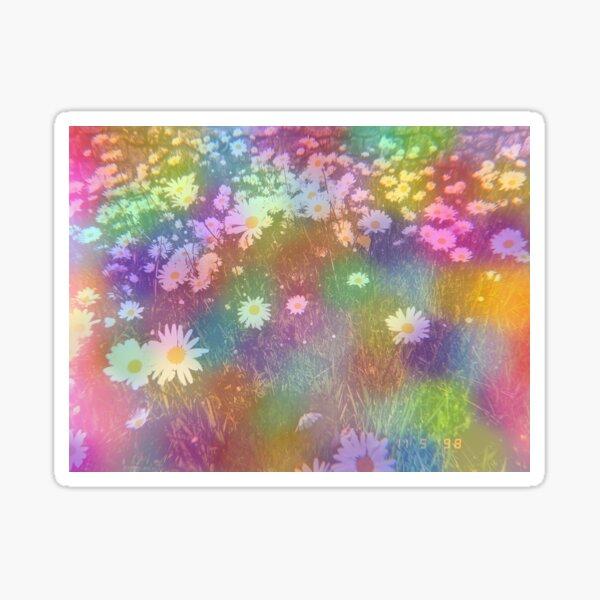Retro Rainbow Coloured Dots and Daisies Sticker