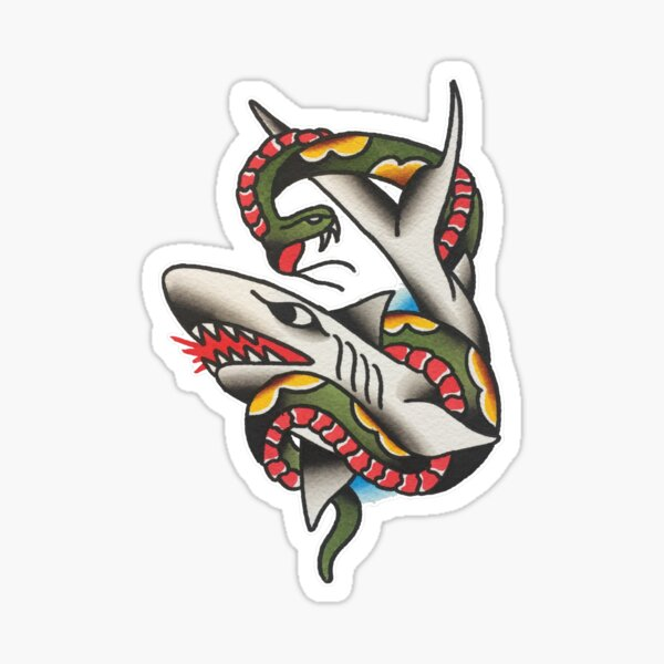 Traditional Shark and Snake in Battle Tattoo Design Sticker