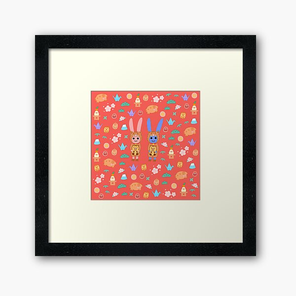 Rabbits Love of Japan Framed Art Print