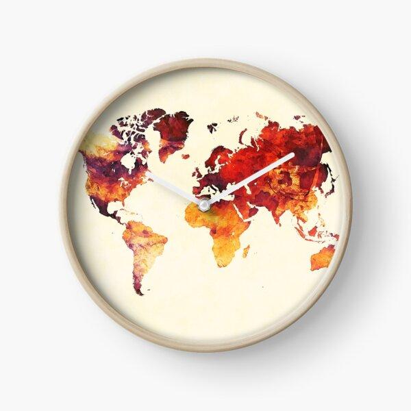 world map 89 art red #map #worldmap Clock