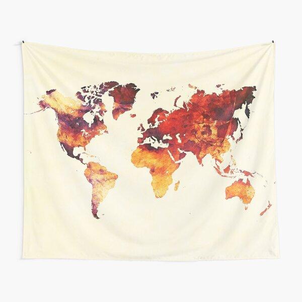 world map 89 art red #map #worldmap Tapestry