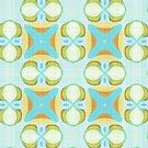 «Naranja Aqua Turquesa Pastel Azul Oval Elipses Cuadrados Patrón» de LC Graphic Design Studio