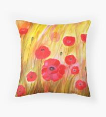 Field of Poppies- Acrylic Painting Throw Pillow