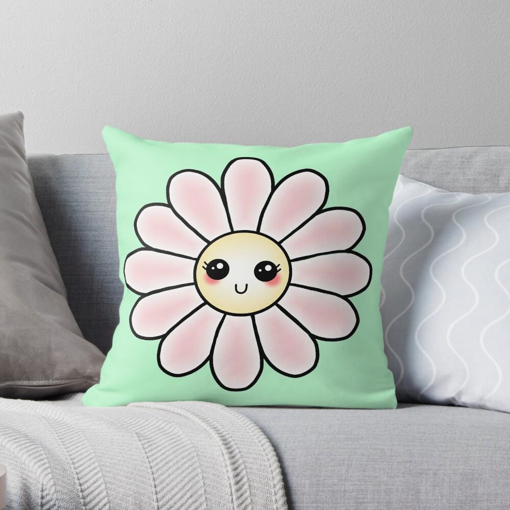 Kawaii Daisy | Pink Blossom Flower Throw Pillow