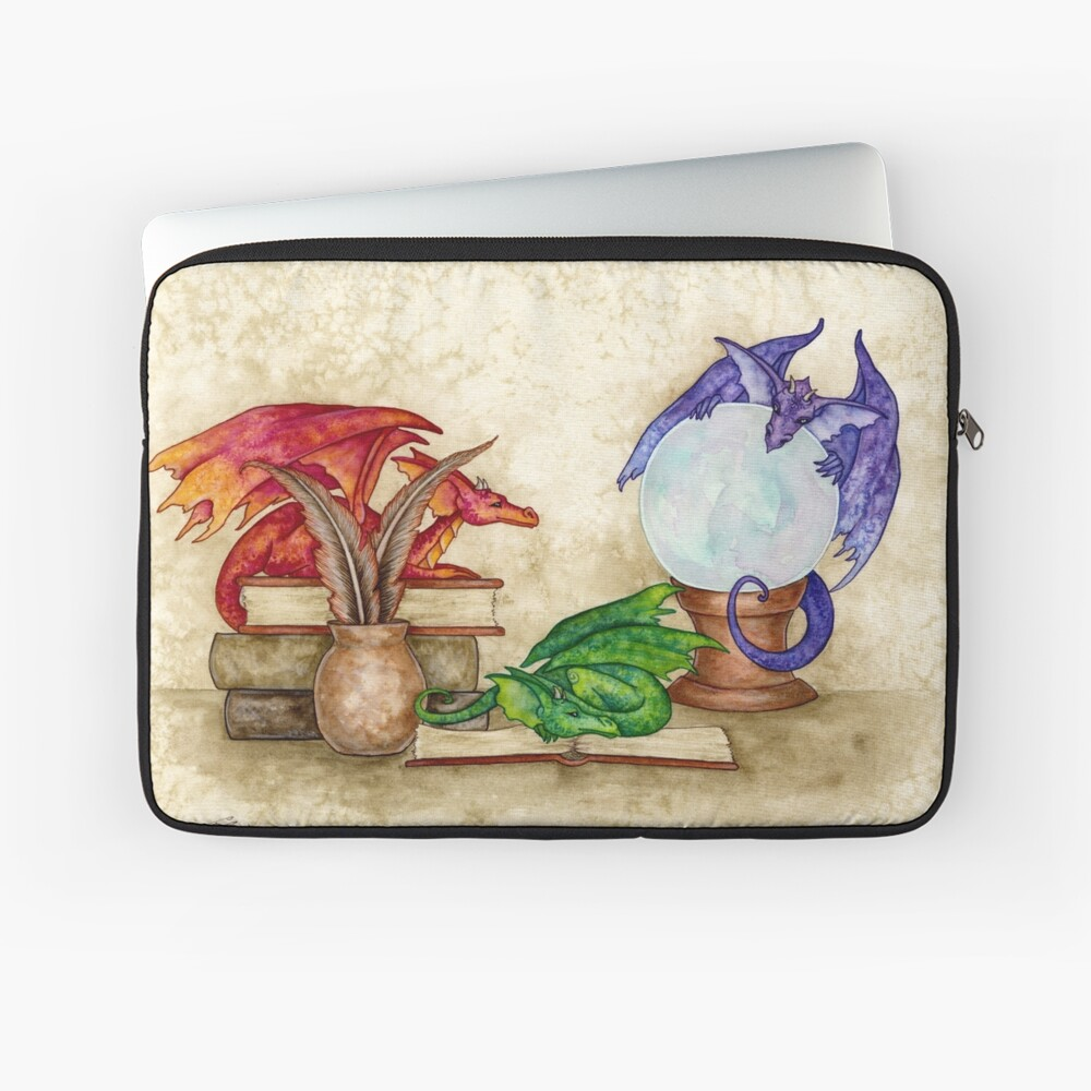 Dragons In The Library Laptop Sleeve