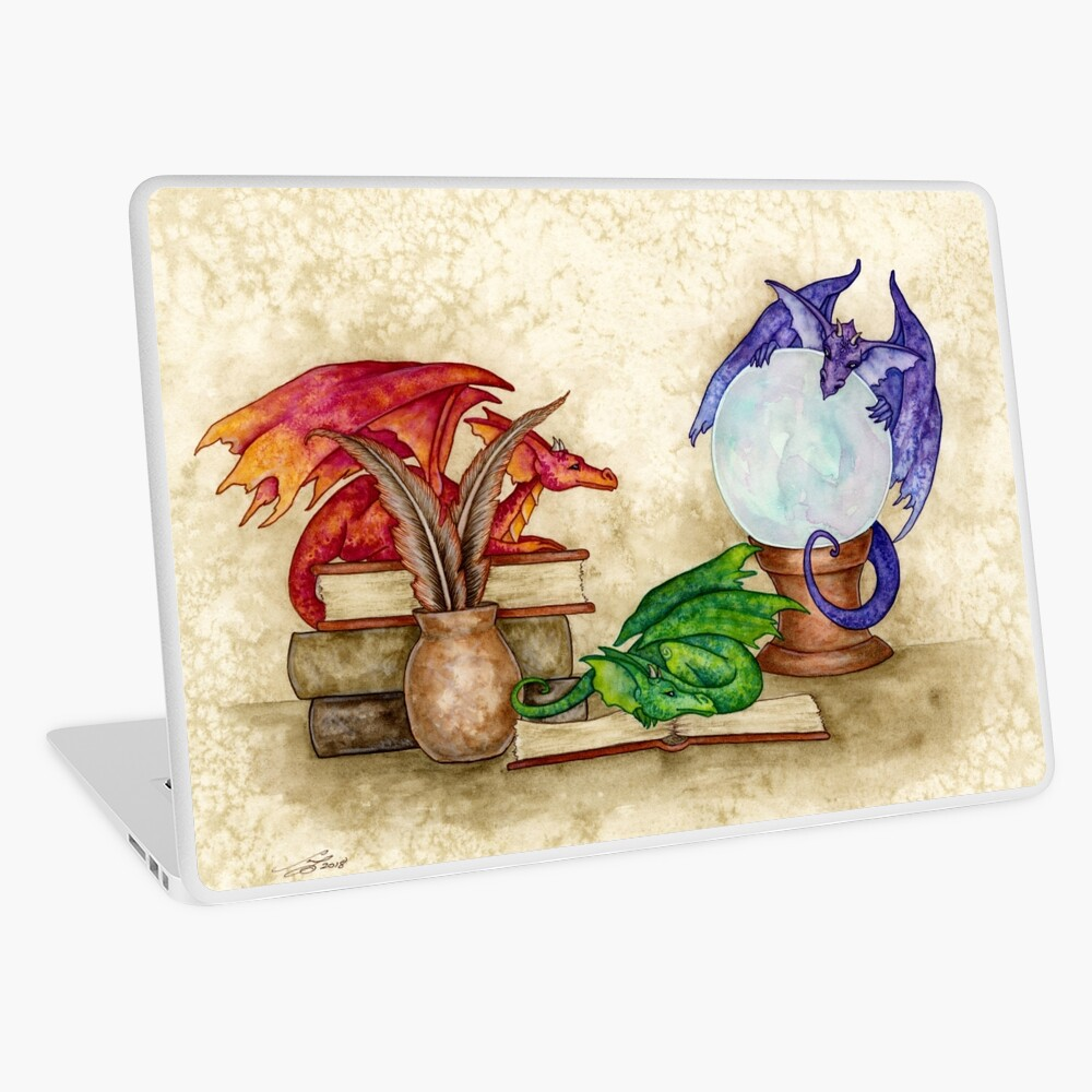 Dragons In The Library Laptop Skin