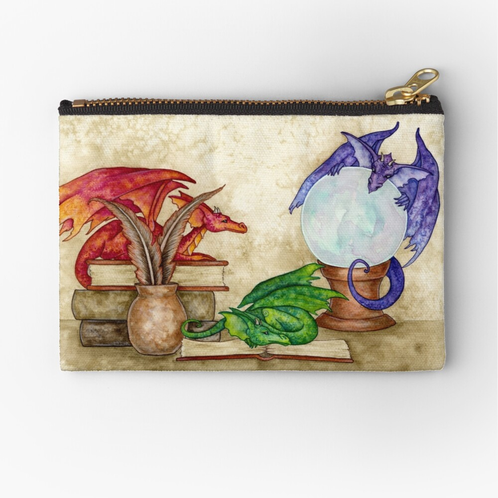 Dragons In The Library Zipper Pouch