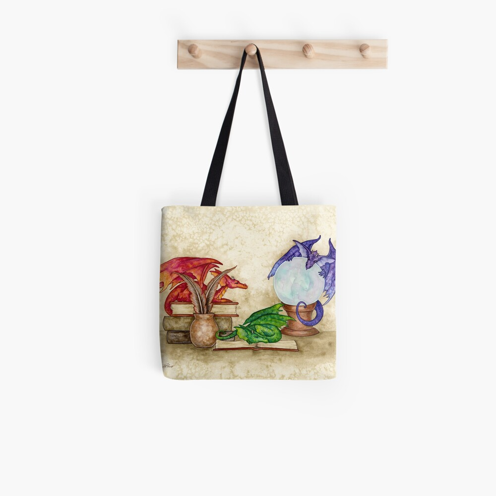 Dragons In The Library Tote Bag