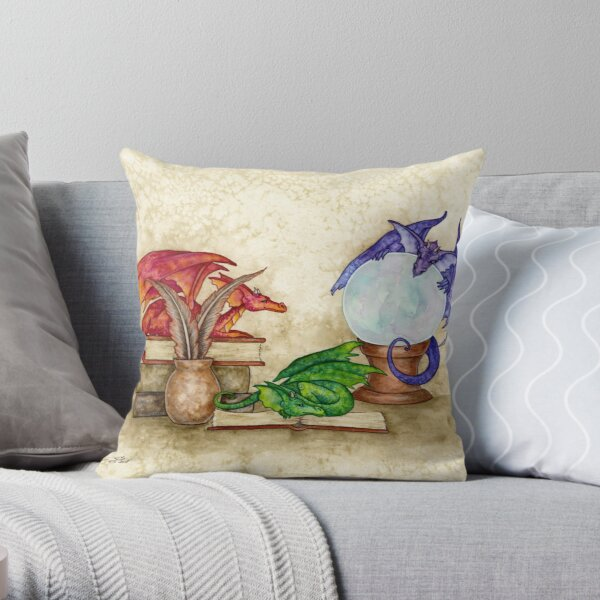 Dragons In The Library Throw Pillow