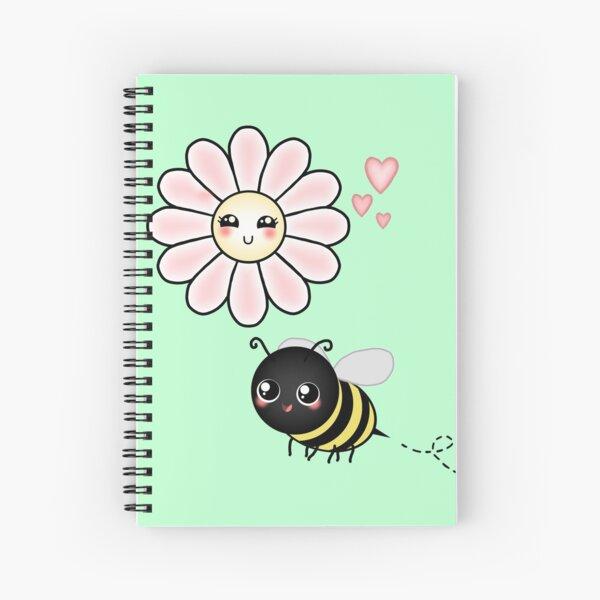 Kawaii Bumble Bee & Kawaii Daisy   Pink Blossom Flower Spiral Notebook
