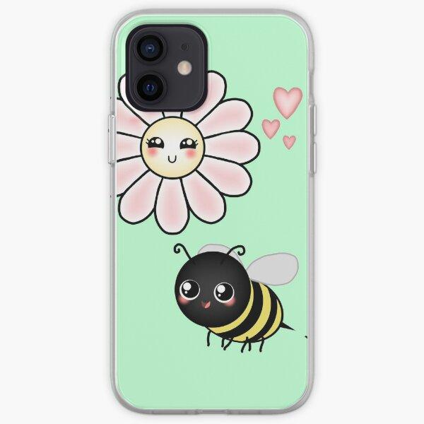 Kawaii Bumble Bee & Kawaii Daisy | Pink Blossom Flower iPhone Soft Case