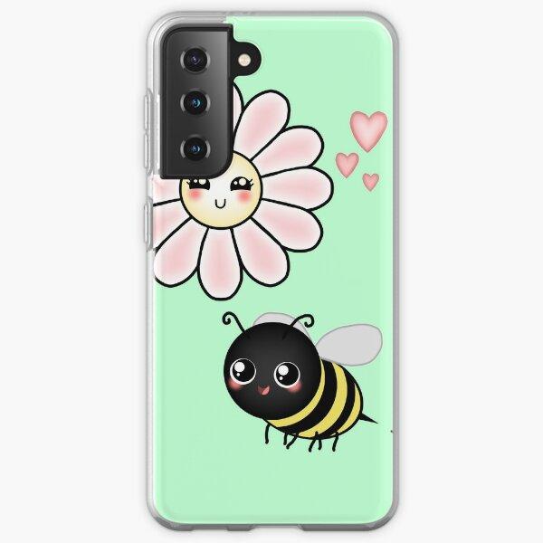 Kawaii Bumble Bee & Kawaii Daisy   Pink Blossom Flower Samsung Galaxy Soft Case
