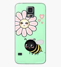 Kawaii Bumble Bee & Kawaii Daisy   Pink Blossom Flower Case/Skin for Samsung Galaxy