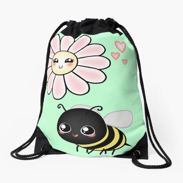 Kawaii Bumble Bee & Kawaii Daisy | Pink Blossom Flower Drawstring Bag